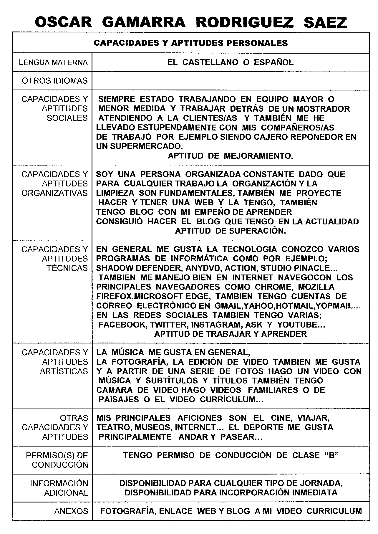 APTITUDES Y CAPACIDADES DE OSCAR GMARRA RODRIGUEZ